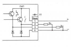 Схема подключения преобразователей ПИП-8-4 и ПИП-16-4