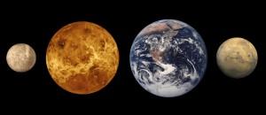Меркурий, Венера, Земля, Марс
