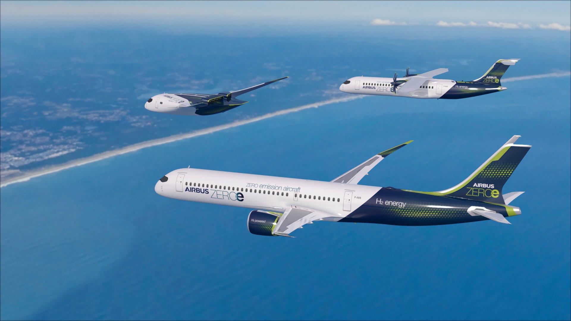 Концепт самолётов на водородном топливе компании Airbus