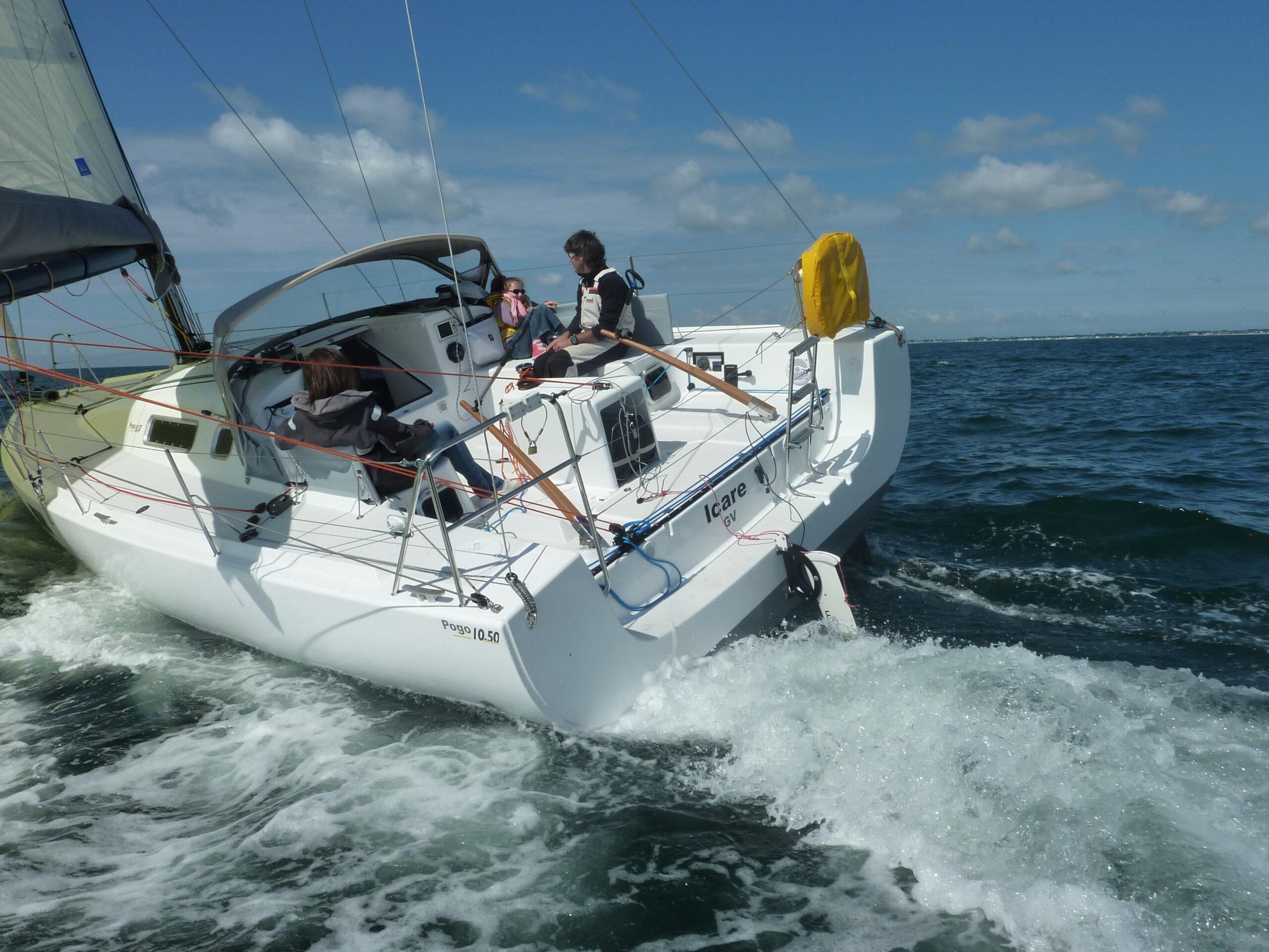 Яхта, оборудованная навесным гидрогенератором